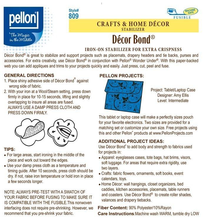 Pellon 809 Decor Bond Iron On Stabilizer 45 Wide