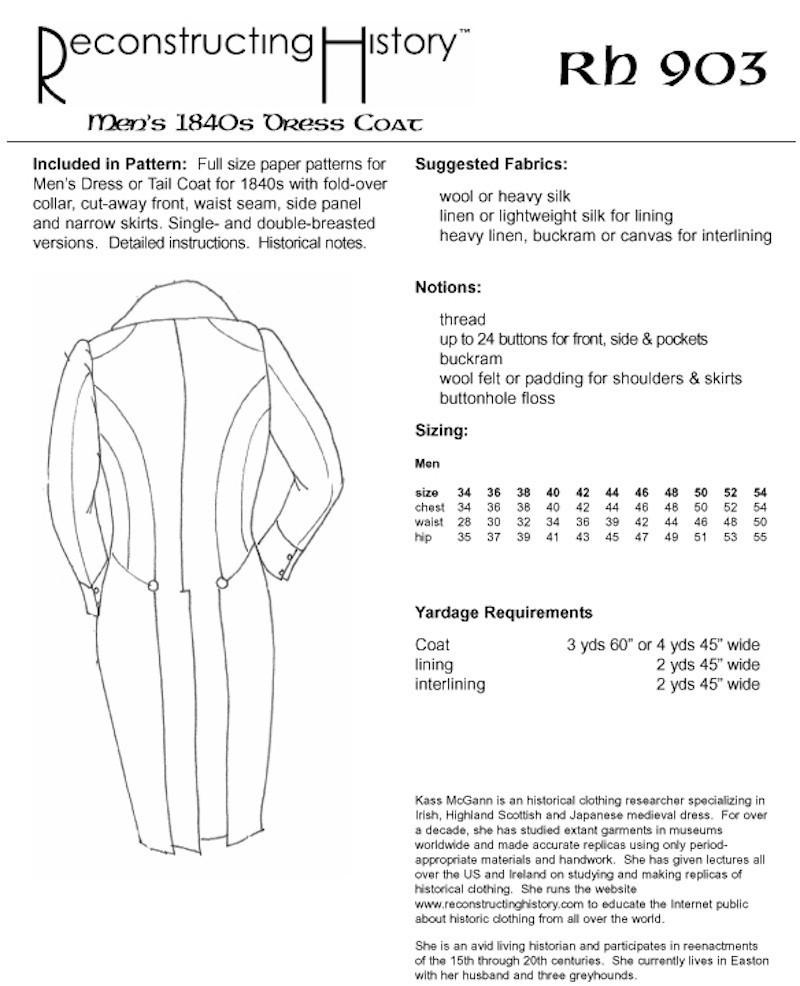 Reconstructing history pattern rh903 1840s mens dress coat reconstructing history pattern rh903 1840s mens dress coat 19th century tail coat jeuxipadfo Images