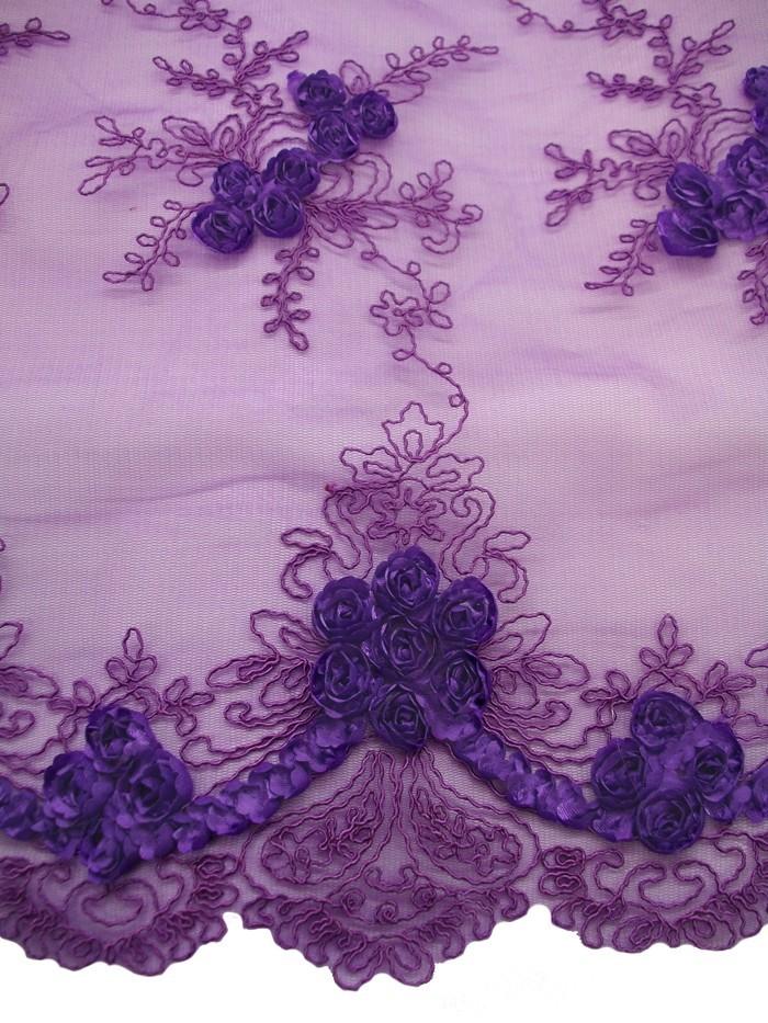 Double Border Rosette Netting Corded Ribbon Tulle Fabric