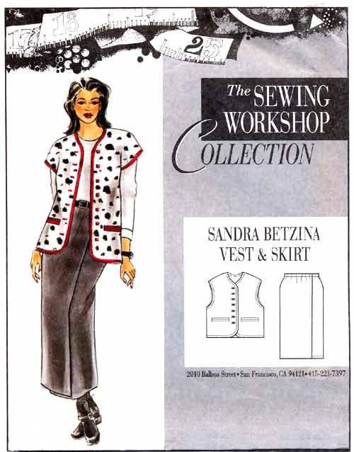 Sewing Workshop Sandra Betzina Vest & Skirt Pattern