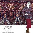 VF201-19 Rune Floral - Burgundy-Navy-Cream-Saffron  SofTouch Polyester Print Fabric