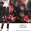 VF201-27 Realm Thor - Exciting Red and Black Printed Short Pile Stretch Velvet Fabric by Telio