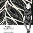 VF201-36 Parallel Frond - Textured White Leaves on Black Lightweight Fluid Knit Fabric