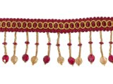"Drapery Beaded Gimp Fringe #04 - 2.25"" - Wine & Gold"