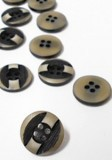 "Wholesale Button - Flat Blouse or Jacket Button - 15mm - Tan and Black 5/8"" - 15mm   1 Dozen (12)"