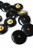 Novelty Button - Fancy Plastic Shank Black Button with Gold Dot - 20mm - Black with Gold Dot   13/16""
