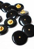 "Novelty Button - Fancy Plastic Shank Black Button with Gold Dot - 20mm - Black with Gold Dot   13/16""   1/2 Gross (72)"