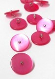 "Novelty Button - Fancy Plastic Shank Pink Button with Silver Dot - 19mm - Pink with Silver Dot   3/4""   1 Gross  (144)"