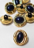 "Wholesale Button - Black Dome Oval Plastic Shank Button #21 - 15mm  - Gold-Black  5/8""  1 Gross (144)"