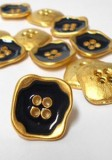 "Wholesale Button - Gold with Black 4 Hole Plastic Button #65 - Black-Gold - 22mm - 7/8""  1 Dozen (12)"