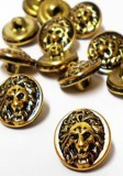 "Wholesale Button - Lion Face Metal Shank Button Small #82 - Gold Black - 15mm - 5/8""  1 Dozen (12)"