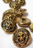 "Wholesale Button - Lion Face Metal Shank Button Large #85 - Gold Black - 20mm - 3/4""  1 Dozen (12)"
