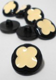 "Wholesale Button - Black with Ivory Plastic Clover leaf Shank Button #60 - Black-Ivory - 22mm - 7/8""  1 Dozen (12)"