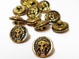 "Wholesale Button - Lion Face Metal Shank Button Small #82 - Gold Black - 15mm - 5/8""  1  Gross (144)Fancy Metal Shank Button in Lion Face and Mane - Gold and Black"