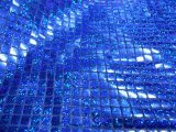 Faux Sequin Knit Squares - Hologram - Royal
