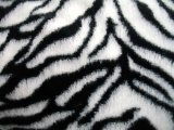 Minky Animal Print Fur Fabric - Zebra close up view