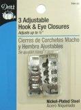 Dritz #784-65 Adjustable Hook & Eye Closures - Silver - 3 Count