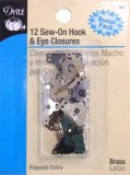 Dritz #193 Sew On Hook & Eye Closures - Black and Silver -12 Count