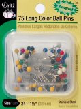 Dritz #31 Long Color Ball Pins - 75 Count