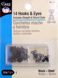 Dritz #9011 Hook & Eyes Black Size 1 - 14 Count