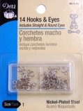 Dritz Hook & Eyes #90-1-65 -Nickel Size 1- 14 Count
