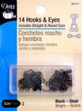 Dritz #90-2-1 Hook & Eyes- 14 Count -Black Size 2