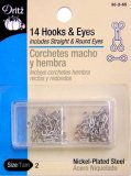 Dritz #90-2-65 Hook & Eyes, 14 Count Nickel Size 2