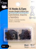 Dritz #90-3-1 Hook & Eyes, 14 Count Black Size 3