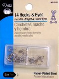 Dritz #90-0-65 Hook & Eyes - 14 Count Nickel - Size 0