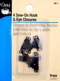 Dritz #93-1 Sew On Hook & Eye Closures - 4 Count Black
