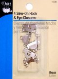 Dritz #93-65 Sew On Hook & Eye Closures, 4 Count Silver