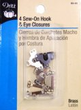 Dritz #93-66 -  Sew On Hook & Eye Closures, 4 Count Black and Silver