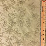 Embroidered Silk Dupioni - Beige 157-06