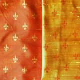 Fleur de Lis Silk Fabric - #18 Red-Gold