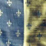 Fleur de Lis Silk Fabric - #19 Steel-Yellow