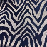Designer Polyester Sheers - Blue and Silver-white Waves