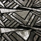 Gala Sequin - Silver Sequin on Black Stretch Velvet