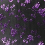 Coutil - Black and Purple Rose Brocade Corseting Fabric