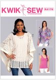 Kwik Sew Pattern #4176 - Misses' Notch-Neck or Banded Ponchos and Tank Top