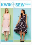 Kwik Sew Pattern #4206 - Misses' High-Low Sleeveless Dresses with Neckline Gathers - cover