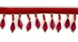 "Trim - Beaded Fringe Wine 1"" Crystal Drop"