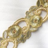 Wholesale Sofia Metallic Beaded Trim - N22219 Gold-Silver - 2.25 inches wide - 9 meters