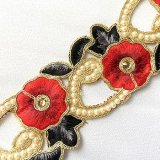Wholesale Sofia Metallic Beaded Trim - N22219 Red-Black - 2.25 inches wide - 9 meters