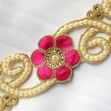 Sofia Metallic Beaded Trim - N22220 Fuchsia - 2 inches wide