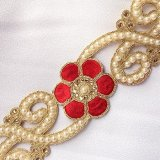 Sofia Metallic Beaded Trim - N22220 Red - 2 inches wide