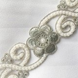 Sofia Metallic Beaded Trim - N22220 Silver - 2 inches wide