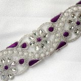 Sofia Metallic Beaded Trim - N22221 Purple - 2 inches wide
