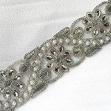 Sofia Metallic Beaded Trim - N22221 Silver - 2 inches wide