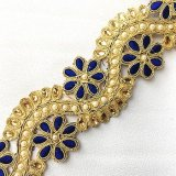 Sofia Metallic Beaded Trim - N22222 Royal - 2 inches wide