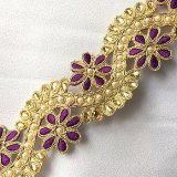 Sofia Metallic Beaded Trim - N22222 Purple-Gold - 2 inches wide